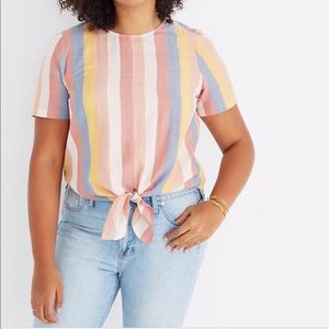 Madewell Tops - Button Back/Tie Front Tee in Sherbert Stripe